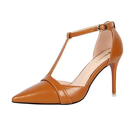 XINJING-S Schnalle High Heels Schuhe Party Hochzeit Frauen Pumps Heels  Kleidung Schuhe Sandalen Braun