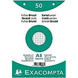 EXACOMPTA 12608E Paquet 50 fiches sous film - bristol quadrillé 5x5 perforé 148x210mm Blanc