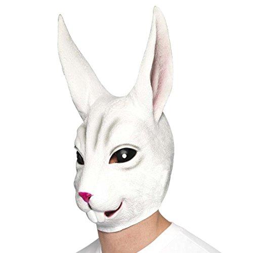 NET TOYS Hasenmaske Kaninchenmaske Latexmaske Hase Vollmaske Kaninchen Faschingsmaske Tier Rabbit Hasen Maske