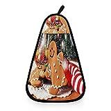 Kcldeci Weihnachtliches Lebkuchen-Küchenhandtuch, Geschirrtuch, Geschirrtuch, Winter, Neujahr, Feuerwerk, Reinigungstücher, Handtuch, Feuchttücher, Waschlappen für Küche, Badezimmer Dekor