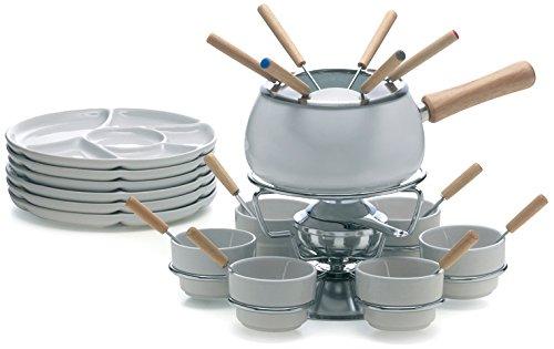 Soul Kitchen Excèlsa Fondue Set, 28-teilig, Weiß