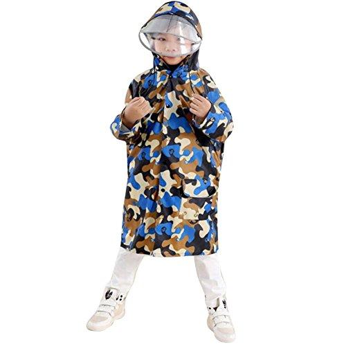 Hiqimi Network technology Ltd Highdas Kinder Tarnung Poncho mit großem Hut und Schulranzen Platz Baby-Regenmantel (Yellow Camouflage) XL / 8-11Y