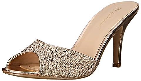 Fabulicious Women's Lucy 01 Open-Toe Heels, Gold (Gold Glitter Mesh Fabric), 7 UK