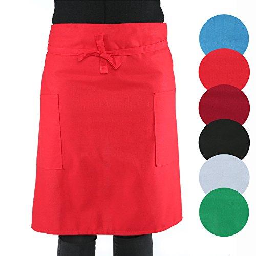 sinnlein® Vorbinder Kochschürze Küchenschürze 100% Baumwolle | mit 2 Taschen | 6 Farben wählbar - perfekt auch als Grillschürze und Backschürze (Rot) -