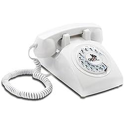 OPIS 60s CABLE: Teléfono estilo retro / diseño vintage de los años sesenta con disco de marcar (blanco)