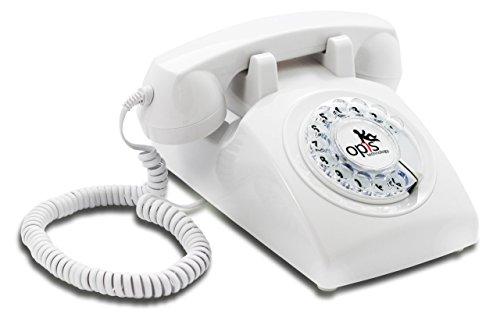 OPIS 60s CABLE: Teléfono estilo retro/diseño vintage de los años sesenta con disco de marcar (blanco)