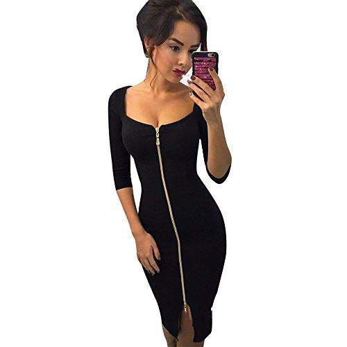 VJGOAL Damen Sexy Kleider Party Abendkleid Reißverschluss Büro Tragen Kleid Abend Partykleid Kleider Hüfte Minikleid(Schwarz,36)