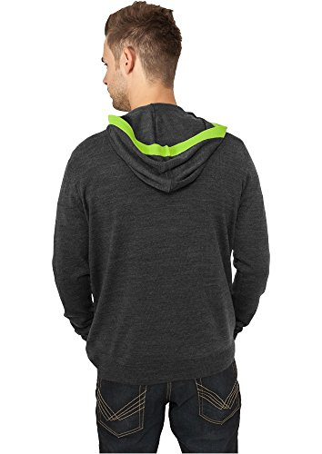 Urban Classics Knitted Contrast Button Hoody Black Grey