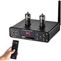 Nobsound HiFi 6K4 Vacuum Tube Preamplifier, Wireless Audio Hi-Fi Stereo Preamp, Remote Control, Bluetooth, U-Disk, SD Card, 3.5mm AUX, RCA Inputs Röhrenvorverstärker (Black)