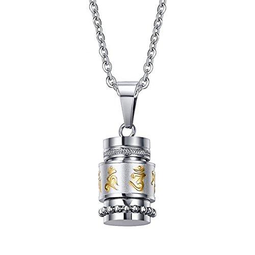 Purmy Edelstahl Herren Urnen Flasche Kapsel Anhänger,Tibet Om Mani Padme Hum Buddha Amulette Gebets Anhänger,mit Halskette 50 cm/60 cm - Tibetische Gebetsmühle