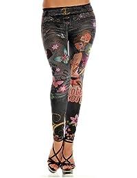 Balingi Leggings en jean avec tatouage imprimé BA10092