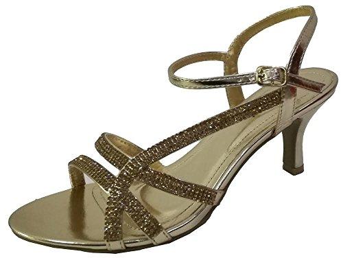 Krasceva ,  Damen Knöchel-Riemchen , gold - gold - Größe: 37.5 (Damen Sandalen Sparkle)