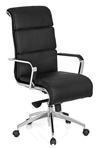 hjh OFFICE 660937 chaise de bureau, fauteuil de direction GALESA noir en cuir, avec accoudoirs, dossier haut, inclinable et ergonomique, piètement robuste et stable, siège pivotant de grand qualité pour un usage professionnel