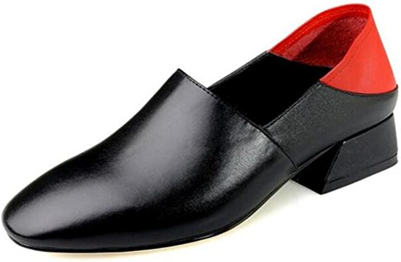 XIE Zapatos de mujer Mocasines piel genuina Ponerse Bloquear Tacón Bomba Tamaño 35 a 38, EU35