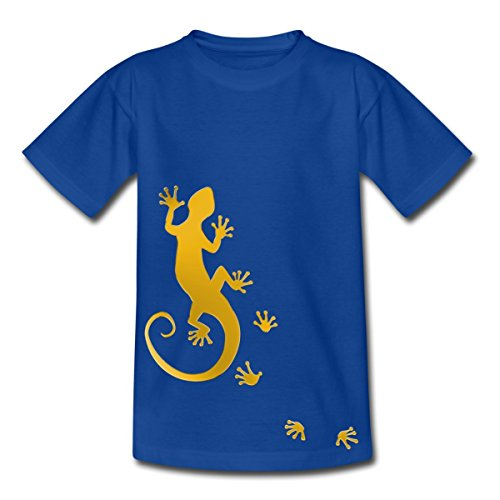 Spreadshirt Running Gecko Teenager T-Shirt, 134/146 (9-11 Jahre), Royalblau