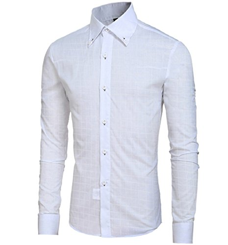 Tongshi Mode Herren Lässige T-Shirts und Shirts Lange Ärmel Slim Fit Plaid Tops Hemd Shirt Weiß