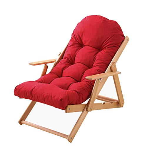 Fzw Chaise pliante en bois massif inclinable amovible (Couleur : Red, taille : 575 * 1000 * 1060mm)