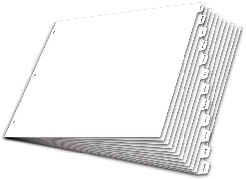 Kardinal Schreiben 'n Erase Tab Teiler, 12-tab, 27,9x 43,2cm, weiß (84272) - 12 Teiler Index