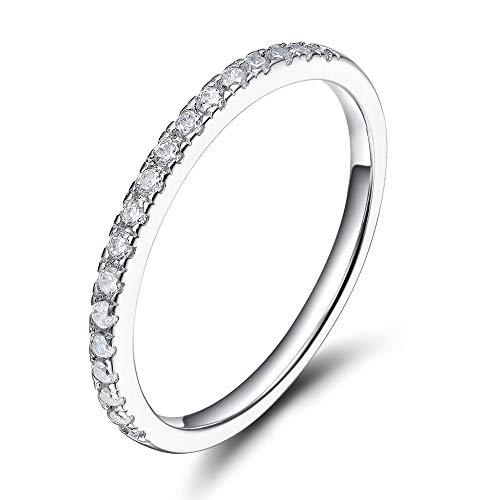 Eternity Ring Damen Ewigkeitsringe Silber 925 Zirkonia Verlobungsringe Eheringe Trauringe Memoirering (Silber,54 (17.2))