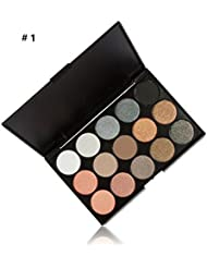 LyDia® 15 COLOURS EYESHADOW PALETTE Matte n Shimmer Smokey Eye Effect Neutral Nude/White Highlight/Brown/Black/Orange/Silver Grey/Chocolate/Golden