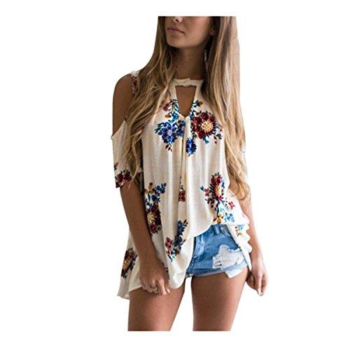 Floral trägerlosen Tops VENMO Frauen Blumen V-Ausschnitt Tops Lose Strand T-Shirt Damen Casual Bluse (M, White)