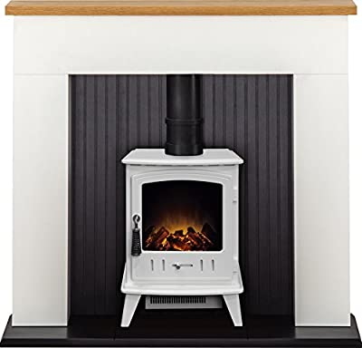 Adam Innsbruck Stove Suite in Pure White with Aviemore Electric Stove in Pure White, 48 Inch