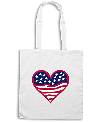 T-Shirtshock - Borsa Shopping TM0154 american flag1 flag Bianco