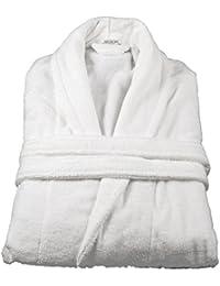 100% Cotton Terry Towelling Bathrobe Bath Robe + Matching Belt (White)