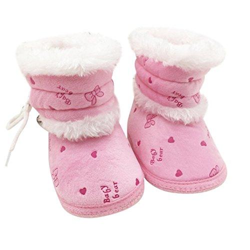 Babyschuhe Longra Baby Stiefel Schuhe weiche Sohle Stiefel Prewalker warme Lauflernschuhe Krippeschuhe (0-18 Monate Baby) Pink