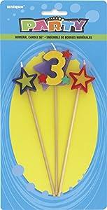 Unique Party- Conjunto de 3 velas de cumpleaños con forma de estrella, número 3 (34043)