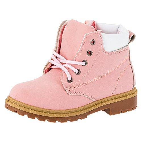 Mädchen Boots, Stiefel, Schnürschuh in mehreren Farben (32, #221rs Rosa)