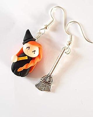 boucles d'oreille sorciere halloween et son balai magique boucles femmes et enfants