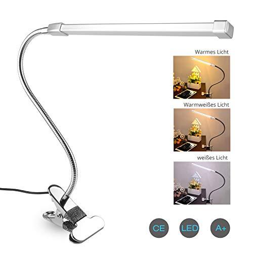 Leselampe klemme, Semlos Schreibtischlampe 360°flexibler Schwanenhals Clip Tischlampe Nachttischlampe 10 Helligkeitsstufen Dimmbar Schreibtischlampe USB Leselampe - Silber