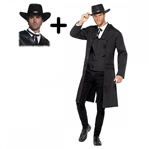 Kostüm Bounty Hunter - Mega Fancy Dress Bounty Hunter für Western-Sheriff-Kostüm mit Hut, Gunslinger