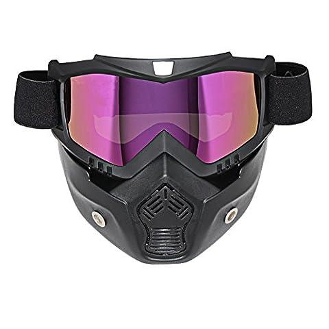 LEAGUE&CO Masque Noir et Lunette Pour Moto Casque Ride MOTO Protection de Visage En TPU Réglable (Lentille Teinté)