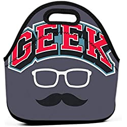 Printing Lunch Bags, Oxford Cloth Insulated Cooler Bag Portable Takeaway geek typographic design glasses mustache