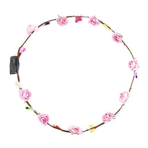 Sunsbell Blumen-LED Haarspange Blume Blumenkranz-Stirnband-Mädchen-Frauen-Braut-LED-Licht-Blumen-Blumen für Hochzeits-Abend-Partei-Dekor