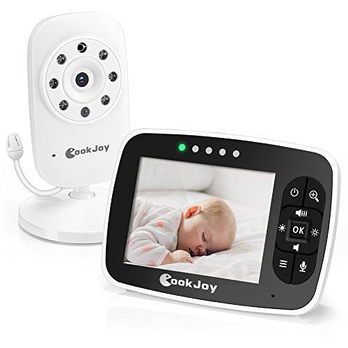 """CookJoy Video Baby Monitor mit Gegensprechfunktion, Schlaflieder, Lautstärkewarnung Wireless Video Babyphone mit Kamera, 3,5"""" LCD Babymonitor + Babykamera mit Nachtsicht und Temperaturüberwachung"""