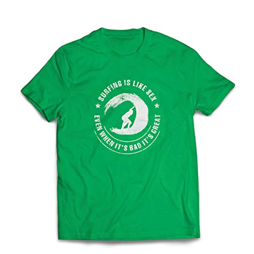 lepni.me Männer T-Shirt Surfen ist wie Sex, inspirierender Humor Geschenk für Surfer (XX-Large Grün Mehrfarben)