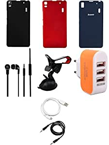 NIROSHA Cover Case Headphone USB Cable Mobile Holder Charger for Lenovo K3 Note - Combo