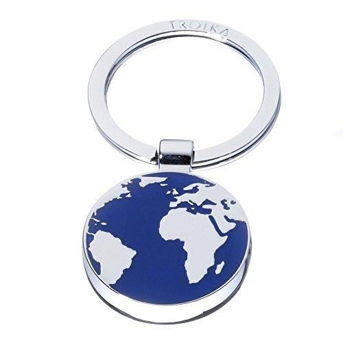 TROIKA Schlüsselanhänger AROUND THE WORLD - KR7-52/CH - Schlüsselanhänger Weltkarte - rund, Erde, Welt, Reise - Metall / Emaille - blau/silber - das Original von TROIKA