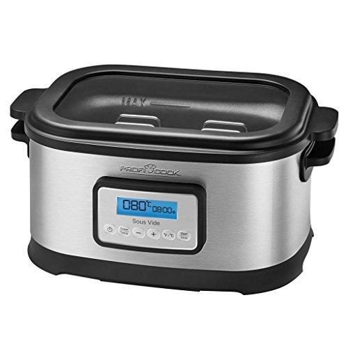 Profi Cook SV-1112 Sous Vide-Schongarer Topf und Vakuum für Küche Kochen bei niedrigen Temperaturen, Energieklasse A, 8,5L, 520W, Grau/Schwarz