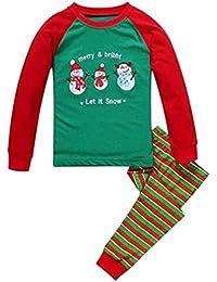 Pijamas dos piezas bebe Niño,Pijamas Navidad bebe Niña,Manga Larga Tops y Pantalones,Navidad Regalo para Niños 2-7 años
