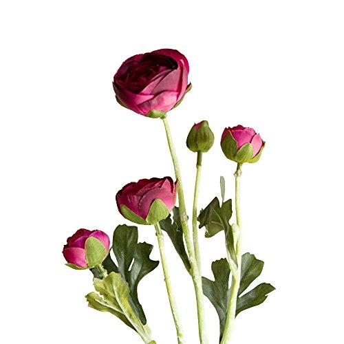 Jia HU 1pièce Tête de fleurs artificielles Pivoine de 5 Pivoine arrangements plantes d'intérieur Décoration extérieure rose rouge