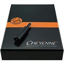 Cheyenne Hawk 19mm profesional higiénicas Acero Aguja Module Tattoo Mango Mango pieza Acero Grip Tatuajes agarre para adhesivo para máquina tatuaje máquina Mango pieza con 8mm Tubo/Tubo Negro Trasera–Black