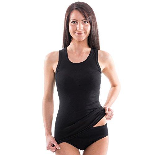 HERMKO 1325 3er Pack Damen Longshirt ideal für drüber und drunter (Weitere Farben), Farbe:schwarz, Größe:36/38 (S)