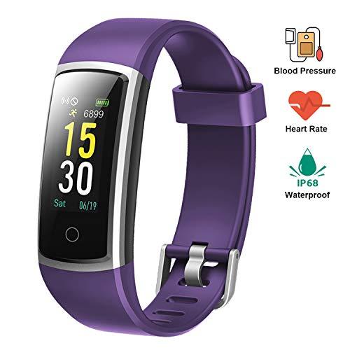 Lintelek Pulsera Actividad Impermeable Smartband con Pulsómetro y Tensiómetro, Reloj Medidor Tensión Arterial, Pulsera Deportiva con GPS Compatible a Android y iPhone, Regalo de Acción de Gracias