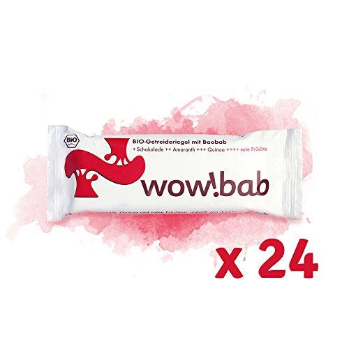 Wowbab Rote Beere Schoko, 24 Müsli-Riegel/Energieriegel / Fruchtriegel mit Baobab, Quinoa, Amaranth und Zartbitter-Schokolade, glutenfreie Lebensmittel/vegan / ohne Konservierungsstoffe/Superfood