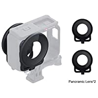 Camera Replacement Parts Lens Guard Protective Glass Cover for Insta 360 One R Panoramic Camera with Frame(Black) (Color : Black)