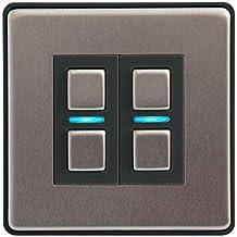 Lightwave L22 Smart Series Dimmer, 200 W, 230 V, Stainess Steel, 2 Gang